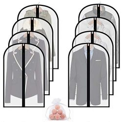homeminda Moth Proof Garment Bag 8packs 40in Clear Suit Dust Cover Hanging Lightweight Breathabl ...
