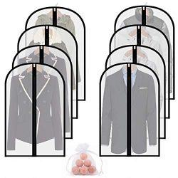 homeminda Moth Proof Garment Bag 8packs 40in Clear Suit Dust Cover Hanging Lightweight Breathabl ...