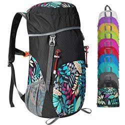 G4Free Lightweight Packable Hiking Backpack 40L Travel Camping Daypack Foldable (Black/Leaf)