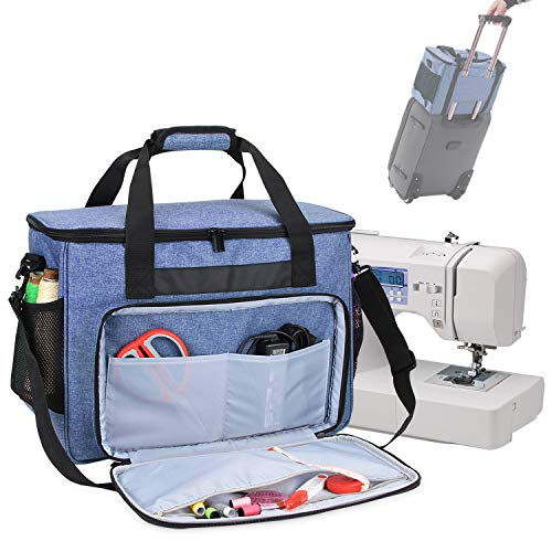 Teamoy Sewing Machine Bag, Travel Tote Bag for Most Standard Sewing Machines and Accessories, Blue