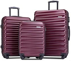 Romatlink Luggage 3 Piece Set Suitcase Spinner Hardshell Lightweight 3 Piece Set, Anti-Scratch L ...