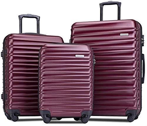 Romatlink Luggage 3 Piece Set Suitcase Spinner Hardshell Lightweight 3 Piece Set, Anti-Scratch L ...