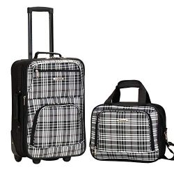 Rockland Fashion Softside Upright Luggage Set, Black Plaid