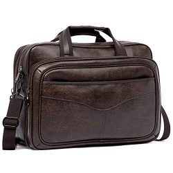 BROMEN Leather Briefcase for Men 15.6 inch Laptop Messenger Bag Expandable Large Capacity Busine ...