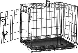AmazonBasics Single Door Folding Metal Dog Crate Kennel – 24 x 18 x 20 Inches