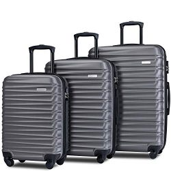 Merax Afuture Luggage Set Hardside Lightweight Spinner Suitcase 20″ 24″ 28″ (Grey)